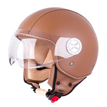 Moto čelada za skuter W-TEC FS-701B Leather Brown - rjava