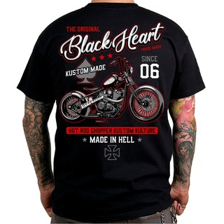 T-shirt BLACK HEART Red Chopper - črna